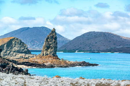 pinnacle: View of the famous Pinnacle Rock in the Galapagos Islands Stock Photo
