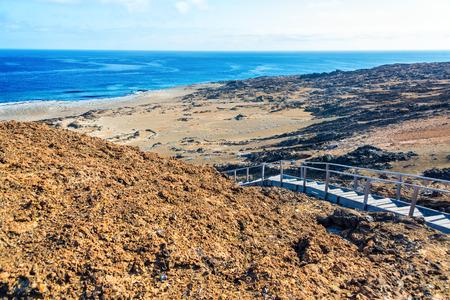 bartolome: Barren volcanic landscape of Bartolome Island in the Galapagos Islands in Ecuador