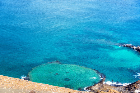 bartolome: View of an underwater crater on Bartolome Island in the Galapagos Islands in Ecuador