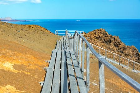 bartolome: Path through the volcanic landscape of Bartolome Island in the Galapagos Islands in Ecuador