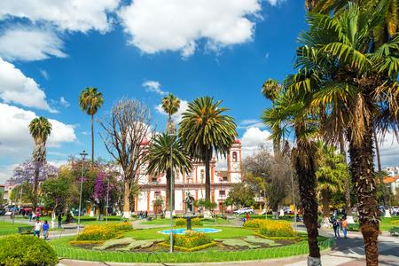 cochabamba: COCHABAMBA BOLIVIA  AUGUST 8: View of Colon Plaza in Cochabamba Bolivia on August 8 2014
