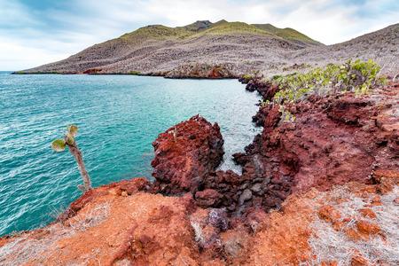 갈라파고스 제도의 산티아고 섬의 붉은 바위 풍경