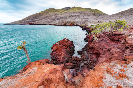 Red rock landscape of Santiago Island in the Galapagos Islands