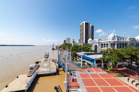 guayaquil: Wide angle view of the waterfront and Malecon in Guayaquil, Ecuador Editorial