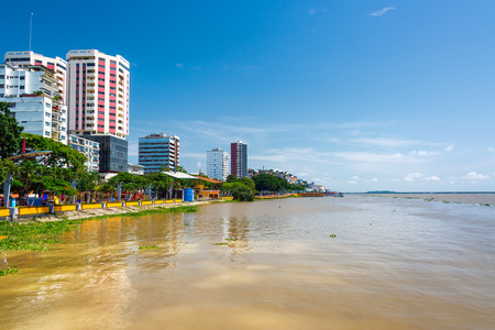 guayaquil: Waterfront of Guayaquil, Ecuador and the brown Guayas River