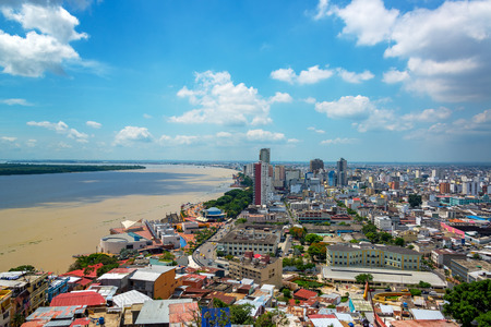 guayaquil: Cityscape view of Guayaquil, Ecuador with the Guayas River visible on the left Stock Photo