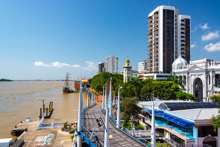 guayaquil: View of the Malecon and the Guayas River in Guayaquil, Ecuador Editorial