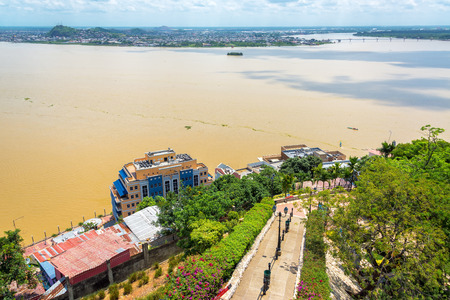 guayaquil: View of a path and the Guayas River from Santa Ana hill in Guayaquil, Ecuador Stock Photo