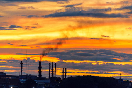 smokestacks: Smokestacks at sunset in Iquitos, Peru