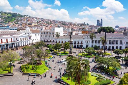 QUITO, ECUADOR - MARCH 6: Activity in the Plaza Grande in the colonial center of Quito, Ecuador on March 6, 2015