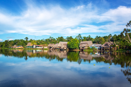 peru amazon: Town on the shore of the Yanayacu River in the Amazon rain forest near Iquitos, Peru