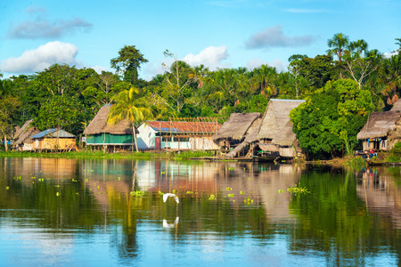 amazon river: View of a small village in the Amazon rain forest on the shore of the Yanayacu River in Peru