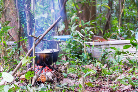 amazon rain forest: Cooking on a campfire in the Amazon rain forest near Iquitos, Peru