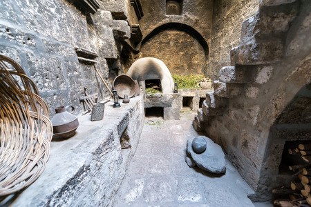 kitchen spanish: Kitchen previously used by nuns in the Santa Catalina Monastery in Arequipa, Peru