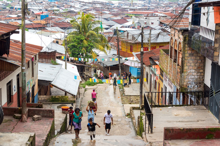 march 17: IQUITOS, PERU - MARCH 17: View of the Belen neighborhood in Iquitos, Peru on March 17, 2015