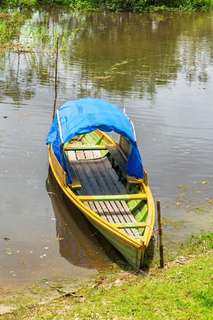 amazon rain forest: View of a green and yellow canoe on the Javari River in the Amazon rain forest in Brazil