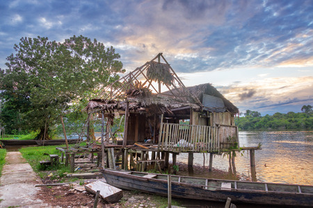 run down: Old run down shack on the Javari River in the Amazon rain forest in Brazil