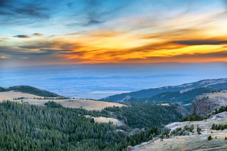 wyoming: Dramatic beautiful sunset viewed from the Bighorn Mountains near Sheridan, Wyoming Stock Photo