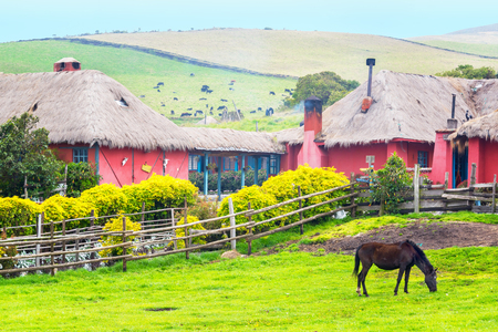 colonial house: Horse and beautiful colonial hacienda near Cotopaxi Volcano in Ecuador