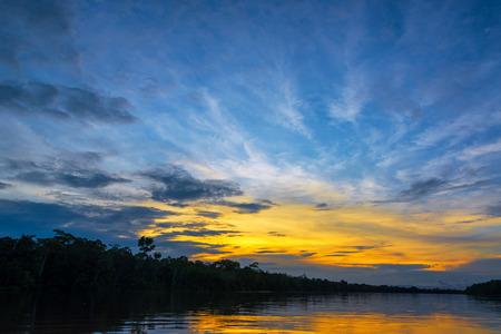 amazon rain forest: Beautiful sunset over the Javari River in the Amazon rain forest in Brazil