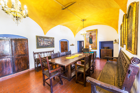 colonial building: POTOSI, BOLIVIA - JULY 24: Dining room in historic colonial building near Potosi, Bolivia on July 24, 2015