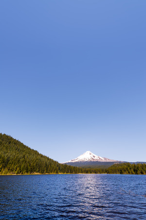 Vertical view of Mt. Hood and Trillium Lake in Oregon