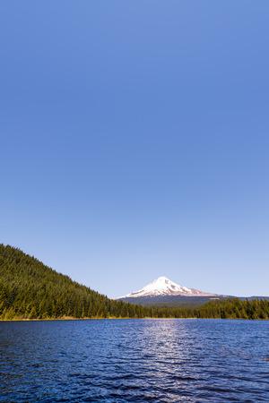 trillium lake: Vertical view of Mt. Hood and Trillium Lake in Oregon