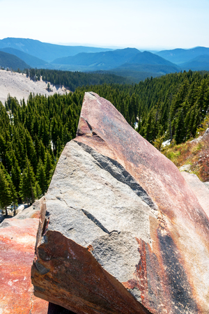 mt  hood: Large boulder and forest on Mt Hood in Oregon Stock Photo