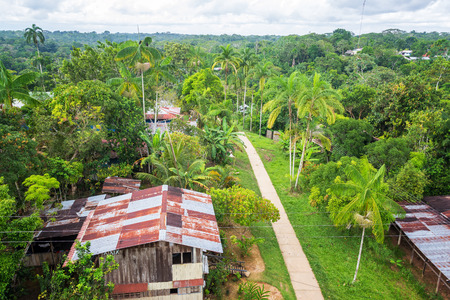 amazon rain forest: View of the town of Puerto Narino deep in the Amazon rain forest in Colombia Stock Photo