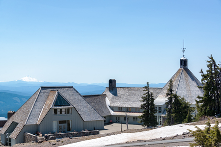 mt hood: TIMBERLINE LODGE - MAY 8: View of Timberline Lodge in Oregon with Mt. Jefferson in the background on May 8, 2015