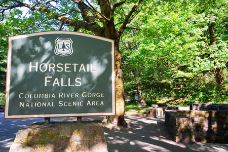 Sign at the entrance of Horsetail Falls in the Columbia River Gorge in Oregon
