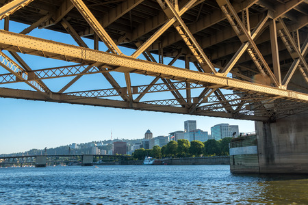 morrison: View of downtown Portland, Oregon as seen from under the Morrison Bridge