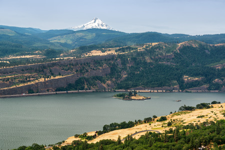 mt  hood: View of the Columbia River and Mt Hood as seen from Washington