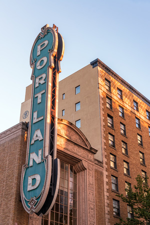 portland: PORTLAND, OR - JULY 2: Iconic sign in downtown Portland, OR on July 2, 2015