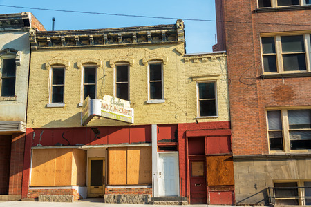 butte: Old abandoned storefronts in historic Butte, Montana Stock Photo