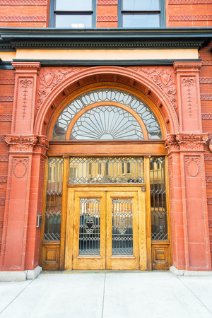 old mining building: Entrance of an old historic building in Butte, Montana