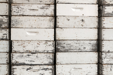 Empty beehives in Buffalo, Wyoming