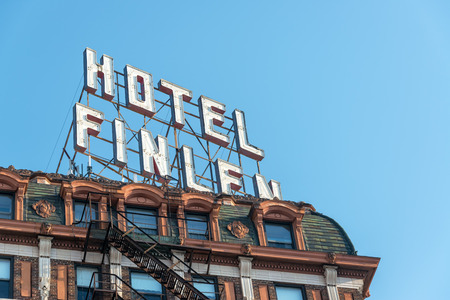butte: BUTTE, MT - AUGUST 21: Closeup view of historic Hotel Finlen in Butte, MT on August 21, 2015