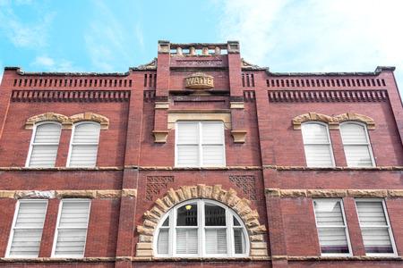 south dakota: Facade of a historic brick building in Deadwood, South Dakota Stock Photo