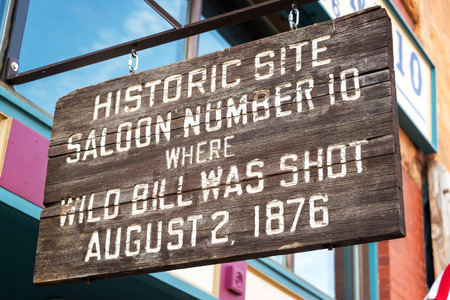 restaurant exterior: Sign marking the location where Wild Bill Hickok was shot in Deadwood, South Dakota Stock Photo