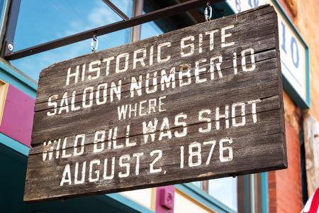 deadwood: Sign marking the location where Wild Bill Hickok was shot in Deadwood, South Dakota Stock Photo