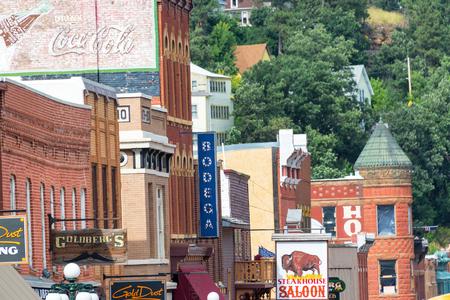 deadwood: DEADWOOD, SD - AUGUST 26: Row of historic buildings in Deadwood, SD on August 26, 2015