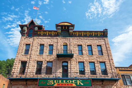 bullock: DEADWOOD, SD - AUGUST 26: View of the historic Bullock Hotel in Deadwood, SD on August 26, 2015