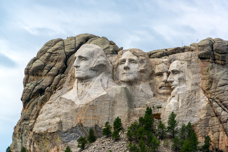 mount: View of Mount Rushmore National Monument near Keystone, South Dakota Editorial