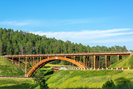 Highway overpass in the Black Hills in South Dakota Stock Photo