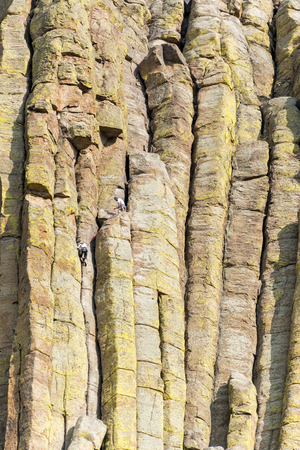monolith: Closeup view of Devils Tower National Monument in Wyoming with climbers visible