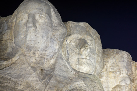 lincoln memorial: Mount Rushmore at night with Washington, Jefferson, and Roosevelt visible Editorial
