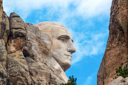 Closeup profile of George Washington at Mount Rushmore National Monument in South Dakota Editorial