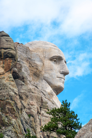 Profile of the face of George Washington in Mount Rushmore National Monument in South Dakota
