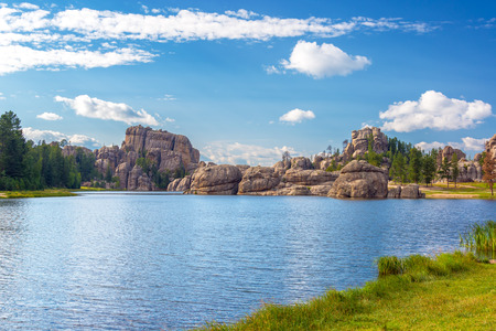 sylvan: Dramatic rock formations on the shore of Sylvan Lake in Custer State Park